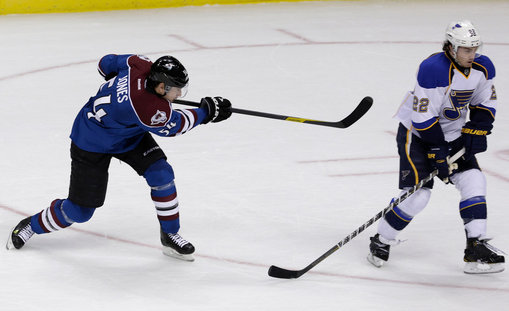 . Colorado Avalanche right wing David Jones (54) scores the game-winning goal in overtime against St. Louis Blues defenseman Kevin Shattenkirk (22) in an NHL hockey game, Wednesday, Feb. 20, 2013, in Denver. Colorado won 1-0. (AP Photo/Joe Mahoney)
