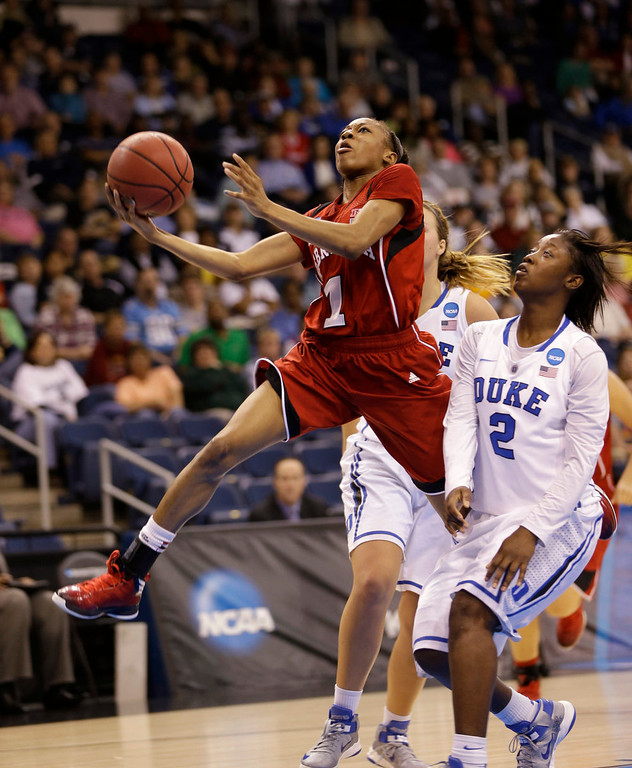 . Nebraska guard Tear\'a Laudermill (1) takes as shot as Duke guard Alexis Jones (2) defends during the second half of a regional semi-final of the women\'s NCAA college basketball tournament Sunday  March 31, 2013, in Norfolk, Va. Duke won the game 53-45.  (AP Photo/Steve Helber)