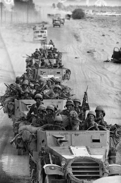 . 8th June 1967:  A victorious Israeli convoy in Egypt during the Six-Day War.  (Photo by Terry Fincher/Express/Getty Images)