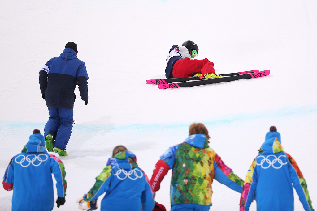 . Brita Sigourney of the United States lies on the ground after crashing in the Freestyle Skiing Ladies\' Ski Halfpipe Finals on day thirteen of the 2014 Winter Olympics at Rosa Khutor Extreme Park on February 20, 2014 in Sochi, Russia.  (Photo by Mike Ehrmann/Getty Images)