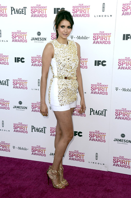 . SANTA MONICA, CA - FEBRUARY 23:  Actress Nina Dobrev attends the 2013 Film Independent Spirit Awards at Santa Monica Beach on February 23, 2013 in Santa Monica, California.  (Photo by Frazer Harrison/Getty Images)