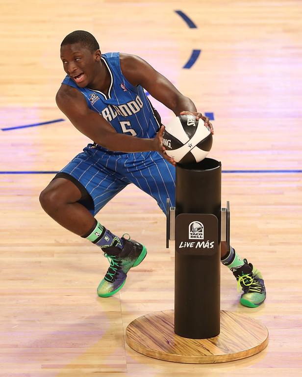 . NEW ORLEANS, LA - FEBRUARY 15:  Eastern Conference All-Star Victor Oladipo #5 of the Orlando Magic competes during the Taco Bell Skills Challenge 2014 as part of the 2014 NBA All-Star Weekend at the Smoothie King Center on February 15, 2014 in New Orleans, Louisiana. (Photo by Christian Petersen/Getty Images)