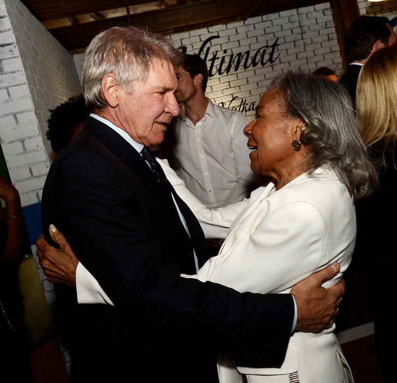 ". Actor Harrison Ford (L) and Jackie Robinson\'s widow Rachel Robinson talk at the after party for the premiere of Warner Bros. Pictures\' and Legendary Pictures\' ""42\"" at the Chinese Theatre on April 9, 2013 in Los Angeles, California.  (Photo by Kevin Winter/Getty Images)"