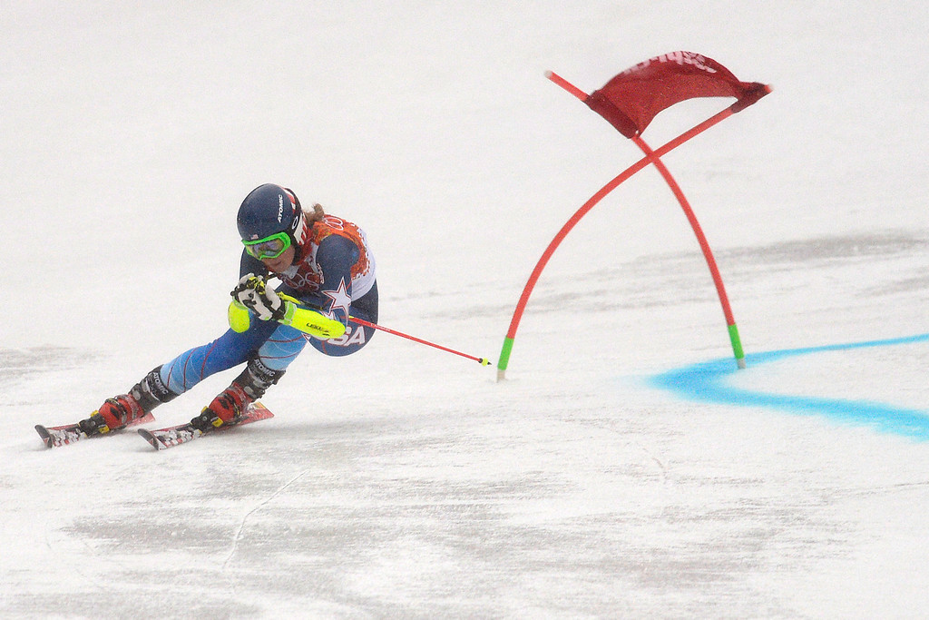 . SOCHI, RUSSIA - FEBRUARY 18: U.S.A. skier Mikaela Shiffrin races during the first round of the ladies\' giant slalom. Sochi 2014 Winter Olympics on Tuesday, February 18, 2014. (Photo by AAron Ontiveroz/The Denver Post)