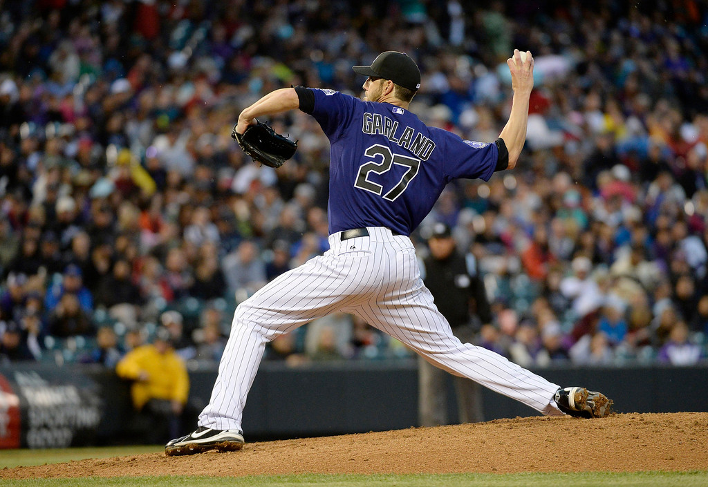 . DENVER, CO. - MAY 20: Jon Garland (27) of the Colorado Rockies delivers a pitch in the third inning against the Arizona Diamondbacks May 20, 2013 at Coors Field. (Photo By John Leyba/The Denver Post)