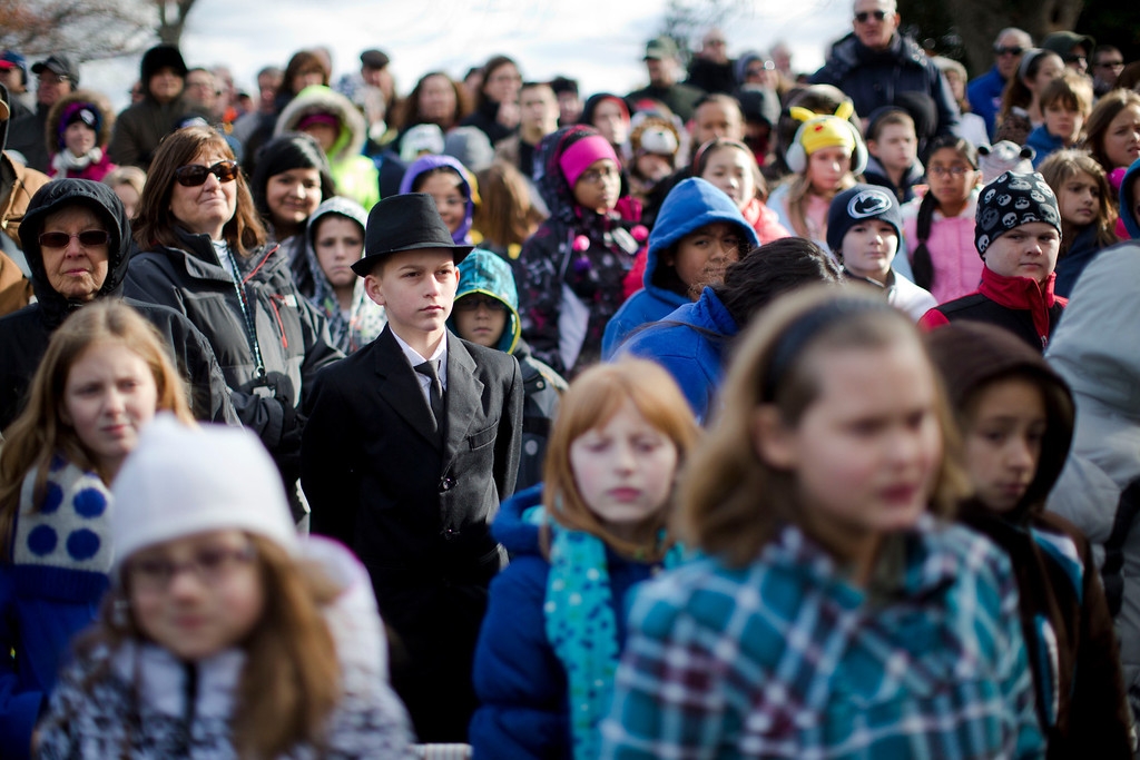 . Audience members listen to remarks during a ceremony commemorating the 150th anniversary of the dedication of the Soldiers\' National Cemetery and President Abraham Lincoln\'s Gettysburg Address, Tuesday, Nov. 19, 2013, in Gettysburg, Pa.   (AP Photo/Matt Rourke)