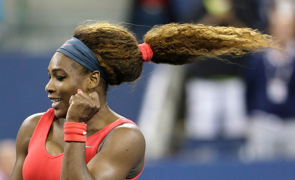 . Serena Williams reacts after defeating Victoria Azarenka, of Belarus, during the women\'s singles final of the 2013 U.S. Open tennis tournament, Sunday, Sept. 8, 2013, in New York. (AP Photo/Darron Cummings)