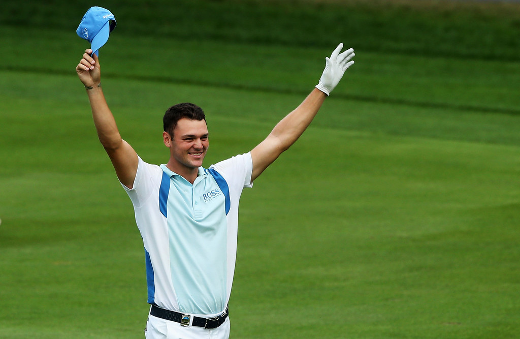 . ROCHESTER, NY - AUGUST 08:  Martin Kaymer of Germany celebrates after holing a shot for eagle on the par 5 13th hole during the first round of the 95th PGA Championship on August 8, 2013 in Rochester, New York.  (Photo by Andrew Redington/Getty Images)