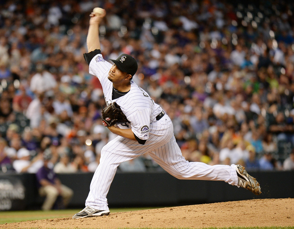 . DENVER, CO. - June 28: Jhoulys Chacin of Colorado Rockies pitch against San Francisco Giants at Coors Field. Denver, Colorado. June 28, 2013. (Photo By Hyoung Chang/The Denver Post)