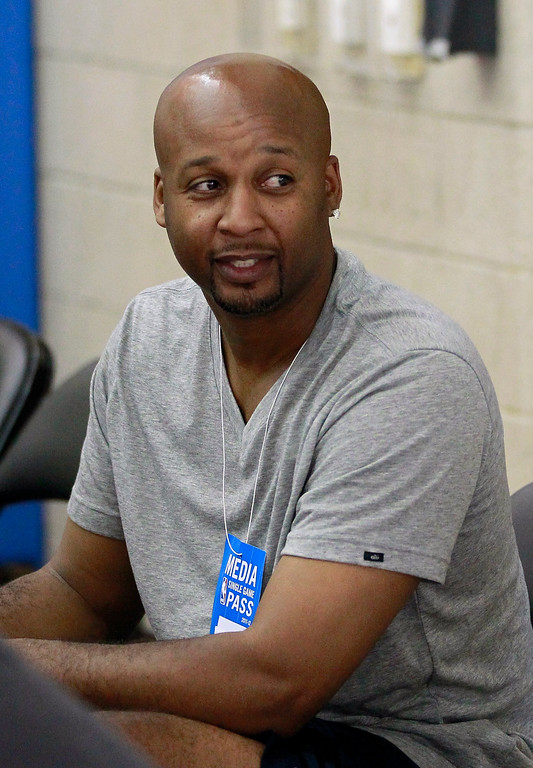 . Indiana Pacers assistant coach Brian Shaw watches an NBA summer league basketball game between the Boston Celtics and the Oklahoma City Thunder, Monday, July 9, 2012, in Orlando, Fla. (AP Photo/John Raoux)