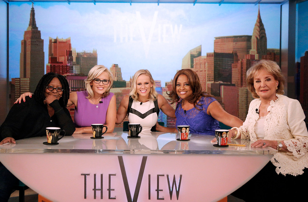 """. This April 15, 2014, photo provided by ABC shows, from left, co-hosts Whoopi Goldberg, Jenny McCarthy, political commentator, guest Margaret Hoover, Sherri Shepherd, and Barbara Walters, on ABC\'s show \""""The View.\"""" The show will gather all 11 past and present co-hosts to salute Walters as she retires from daily television in a first-ever reunion that will air on the May 15, episode, the day before Walters says goodbye as series co-host. (AP Photo/ABC, Heidi Gutman)"""