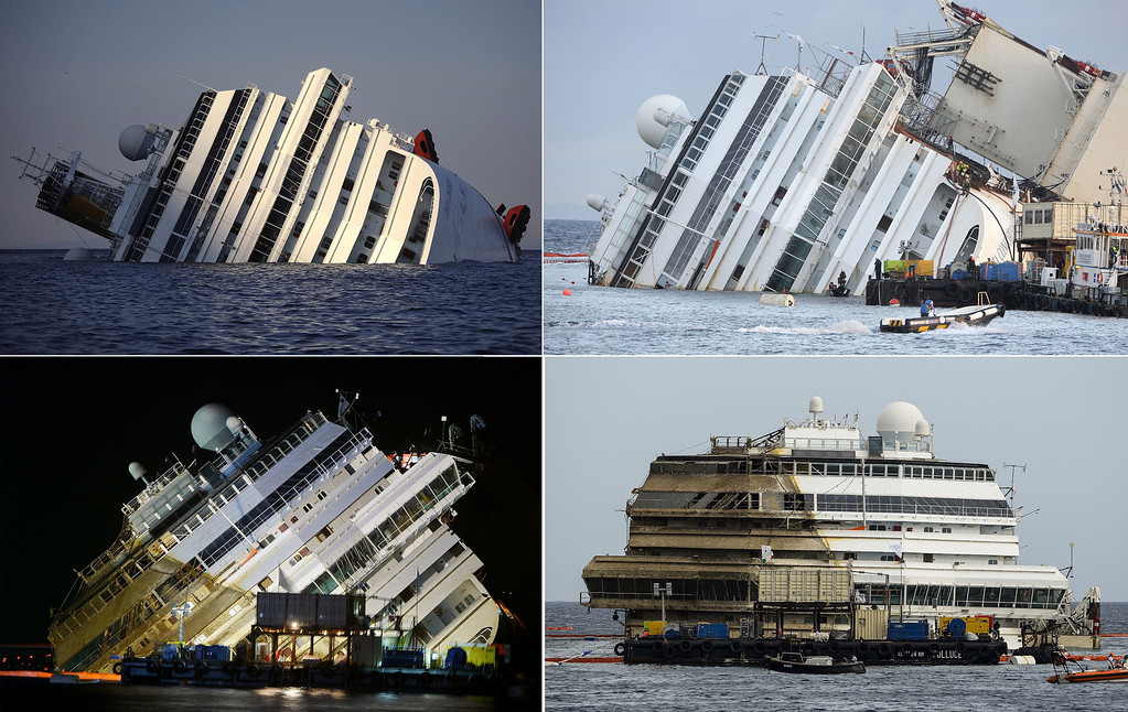 . This combination made on September 17, 2013 shows four photos of the Costa Concordia, after the cruise ship ran aground and keeled over off the Isola del Giglio taken on January 14, 2012 (top left), beginning to emerge during the salvage operation on September 16, 2013 (top right) and (lower left) and after it was turned upright (lower right) on September 17, 2013.  ANDREAS SOLARO,VINCENZO PINTO/AFP/Getty Images