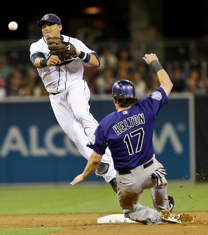 . San Diego Padres shortstop Everth Cabrera avoids Colorado Rockies\' Todd Helton while relaying to first for an unsuccessful double play attempt in the sixth inning of a baseball game in San Diego, Monday, July 8, 2013. (AP Photo/Lenny Ignelzi)
