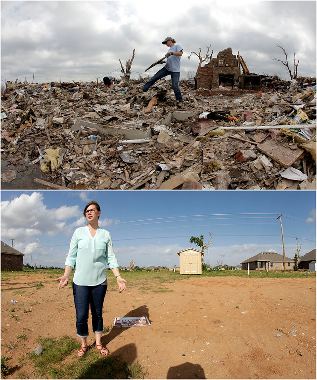 . In this photo combination, Abby Cotten sorts through the tornado-ravaged home she shared with her parents in Moore, Okla., May 25, 2013, several days after it was destroyed by an EF-5 tornado, top, and Cotten visits the site on May, 8, 2014, bottom. She said that she plans to start construction this summer on a new home for herself on the lot after her parents decided to not move back to the location. (AP Photo/Charlie Riedel)