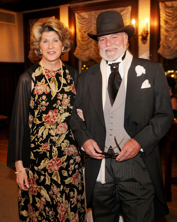 . Denise Gibe and George Watkins arrived for the event. The Rocky Mountain PBS Masterpiece Costume Ball attracted more than 200 fans of the Downton Abbey television drama Saturday night, January 4, 2014 at the Grant Humphreys Mansion. The show\'s new season starts Sunday night. The event also included a silent auction, historical displays, and a costume contest. Photo By Karl Gehring/The Denver Post