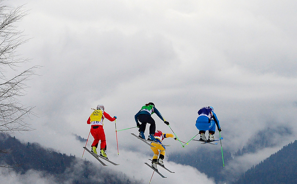 . Skiers race in the Women\'s Freestyle Skiing Ski Cross Small Final at the Rosa Khutor Extreme Park during the Sochi Winter Olympics on February 21, 2014.    AFP PHOTO / JAVIER SORIANO/AFP/Getty Images