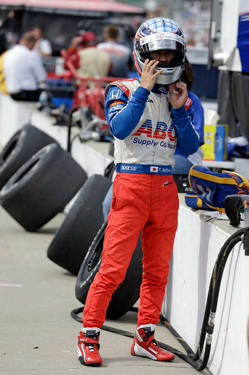 . Takuma Sato, of Japan, prepares to drive during practice for the Indianapolis 500 auto race at the Indianapolis Motor Speedway in Indianapolis, Wednesday, May 15, 2013. (AP Photo/Michael Conroy)