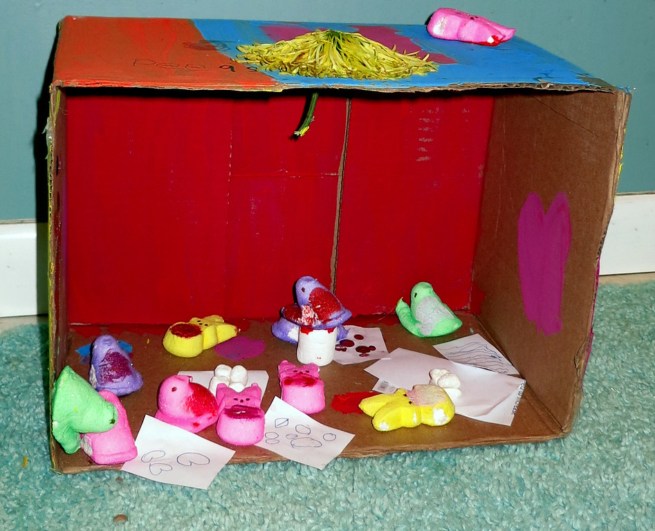 ". ""Peeps in Art Class\"" by Gina Ridgeway, age 6.  My mom did not help with the diorama, only taking the picture.   Gina Ridgeway"