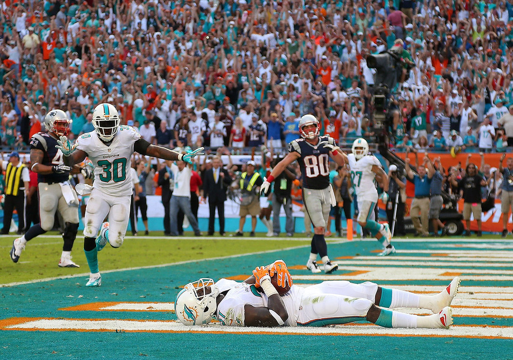 . Michael Thomas #31 of the Miami Dolphins celebrates a game clinching interception during a game against the New England Patriots at Sun Life Stadium on December 15, 2013 in Miami Gardens, Florida.  (Photo by Mike Ehrmann/Getty Images)