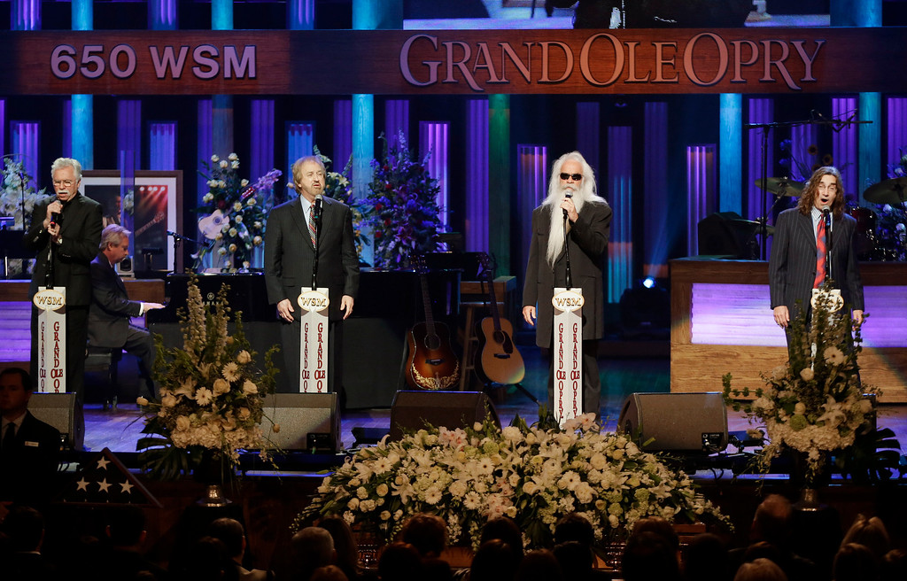 . The Oak Ridge Boys perform during the funeral for country music star George Jones in the Grand Ole Opry House on Thursday, May 2, 2013, in Nashville, Tenn.  (AP Photo/Mark Humphrey, Pool)
