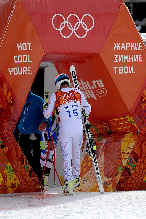 . SOCHI, RUSSIA - FEBRUARY 09: United States skier Bode Miller leaves the racecourse after not making the top three during the alpine skiing men\'s downhill final. Sochi 2014 Winter Olympics at the Rosa Khutor Alpine Resort on Sunday, February 9, 2014. (Photo by AAron Ontiveroz/The Denver Post)