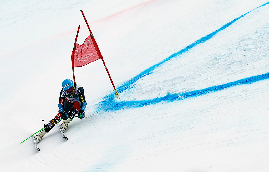 . Ted Ligety of the U.S. skis during the second run of the men\'s Giant Slalom race at the World Alpine Skiing Championships in Schladming February 15, 2013.     REUTERS/Leonhard Foeger