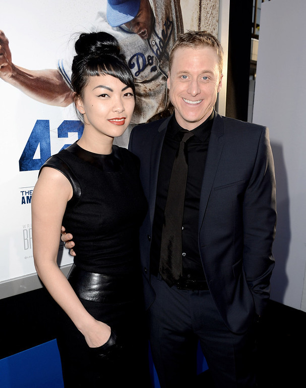 ". Actor Alan Tudyk (R) arrives at the premiere of Warner Bros. Pictures\' and Legendary Pictures\' ""42\"" at the Chinese Theatre on April 9, 2013 in Los Angeles, California.  (Photo by Kevin Winter/Getty Images)"