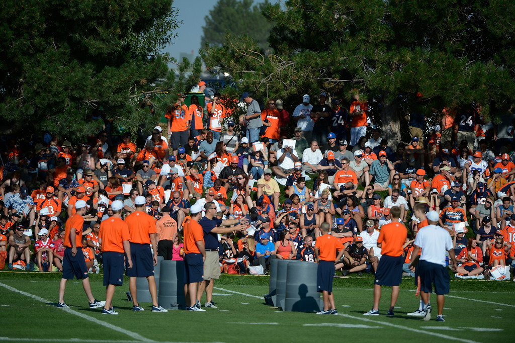 . ENGLEWOOD, CO - JULY 27: Denver Broncos fans fill the hillside before training camp started at Dove Valley Saturday July 26, 2013.  (Photo By Andy Cross/The Denver Post)