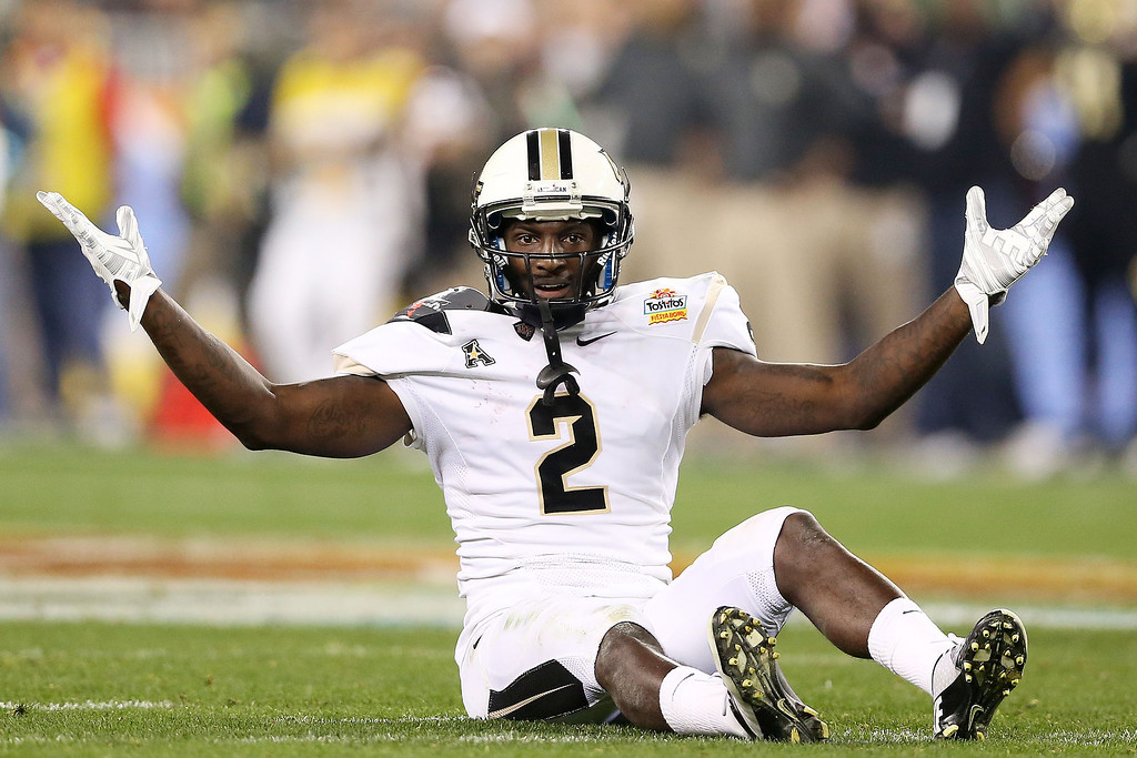 . Jeff Godfrey #2 of the UCF Knights reacts as the Baylor Bears are called for pass interference during the Tostitos Fiesta Bowl at University of Phoenix Stadium on January 1, 2014 in Glendale, Arizona.  (Photo by Christian Petersen/Getty Images)