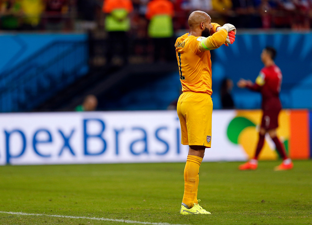 . United States\' goalkeeper Tim Howard stands near his goal after being scored on by Portugal\'s Nani during the group G World Cup soccer match between the United States and Portugal at the Arena da Amazonia in Manaus, Brazil, Sunday, June 22, 2014. (AP Photo/Julio Cortez)