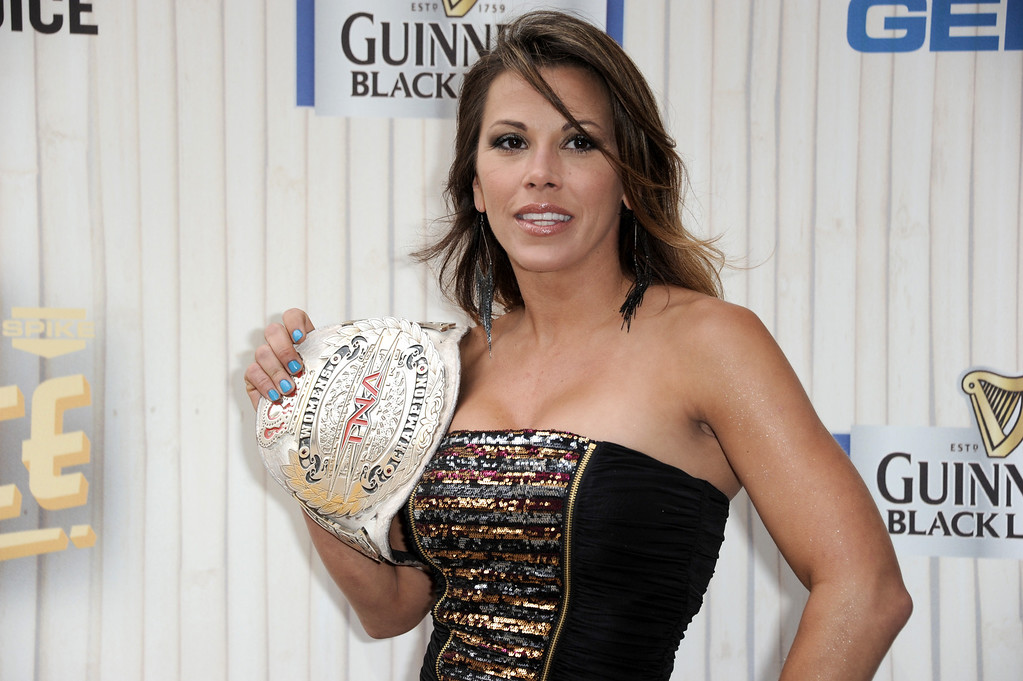 . Mickie James arrives at Spike TV\'s Guys Choice Awards at Sony Pictures Studios on Saturday, June 8, 2013, in Culver City, Calif. (Photo by Richard Shotwell/Invision/AP)
