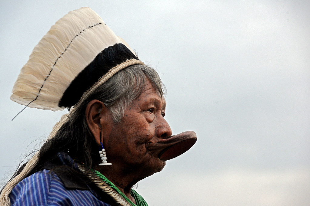 . The chief of the Kayapo indigenous people, Raoni, attends a chiefs meeting in Brasilia on October 1, 2013, in the beginning of the National Indigenous Mobilization Week. I AFP PHOTO / Evaristo  SA/AFP/Getty Images