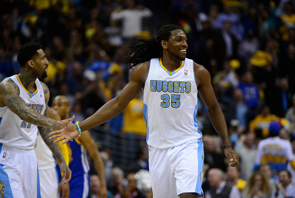 . Denver Nuggets small forward Kenneth Faried (35) celebrates in the second quarter. The Denver Nuggets took on the Golden State Warriors in Game 5 of the Western Conference First Round Series at the Pepsi Center in Denver, Colo. on April 30, 2013. (Photo by AAron Ontiveroz/The Denver Post)