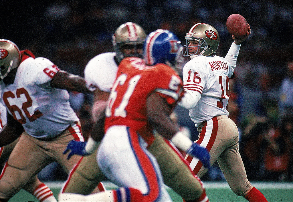 . Quarterback Joe Montana #16 of the San Francisco 49ers in action during the NFL Super Bowl XXIV Game against Denver Broncos at the Louisiana Superdome in New Orleans, Louisiana.  (Rick Stewart/Allsport)