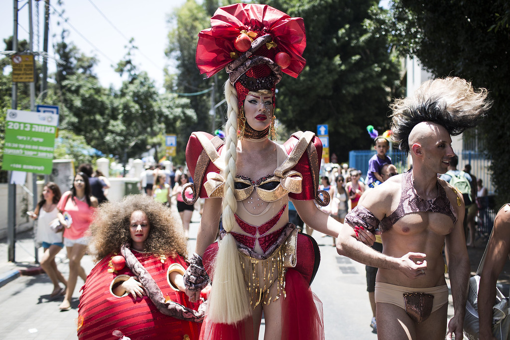 . Performers take part in the annual Tel Aviv Gay Pride parade on June 7, 2013 in Tel Aviv, Israel. (Photo by Ilia Yefimovich/Getty Images)