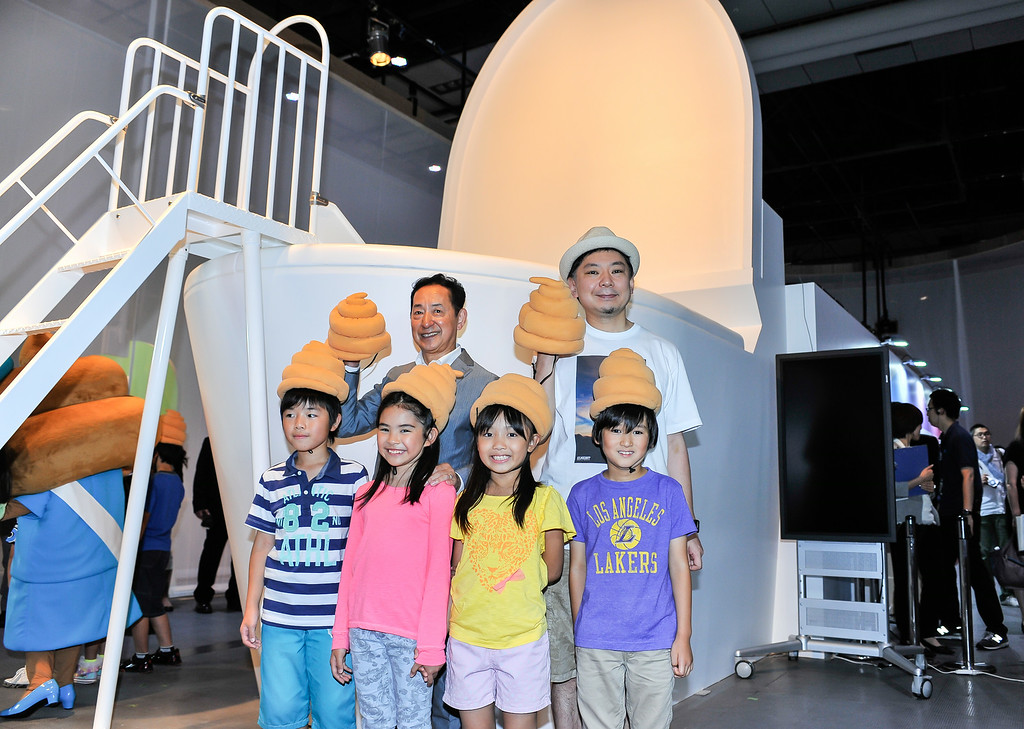 """. TOKYO, JAPAN - JULY 01:  (Back L-R) Japanese astronaut Mamoru Mohri, Executive Director for the Miraikan and speaker Osamu Suzuki pose for group photo during the \""""Toilet!? Human Waste and Earth\'s Future\"""" exhibition at The National Museum of Emerging Science and Innovation - Miraikan on July 1, 2014 in Tokyo, Japan. The exhibition focuses on how the toilet has changed our daily lives and discovers what the most environment-friendly and ideal toilet is.  (Photo by Keith Tsuji/Getty Images)"""