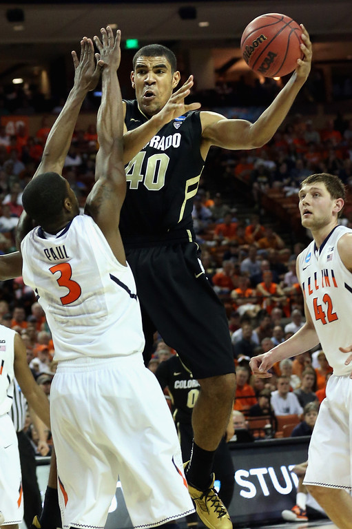 . AUSTIN, TX - MARCH 22:  Josh Scott #40 of the Colorado Buffaloes takes the ball around Brandon Paul #3 of the Illinois Fighting Illini  during the second round of the 2013 NCAA Men\'s Basketball Tournament at The Frank Erwin Center on March 22, 2013 in Austin, Texas.  (Photo by Stephen Dunn/Getty Images)