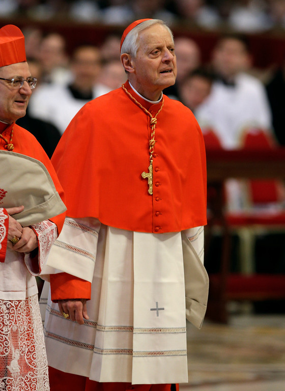 . Cardinal Donald William Wuerl, of the United States, attends a Mass for the election of a new pope celebrated by Cardinal Angelo Sodano inside St. Peter\'s Basilica, at the Vatican, Tuesday, March 12, 2013.  (AP Photo/Andrew Medichini)