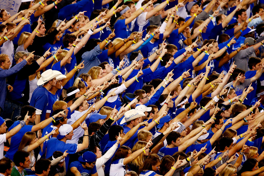 . ARLINGTON, TX - APRIL 07: Fans cheer during the NCAA Men\'s Final Four Championship between the Kentucky Wildcats and the Connecticut Huskies at AT&T Stadium on April 7, 2014 in Arlington, Texas.  (Photo by Tom Pennington/Getty Images)