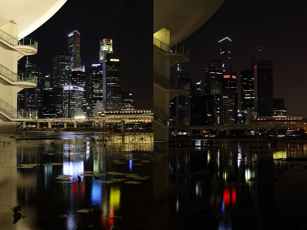 . SINGAPORE - MARCH 23: (EDITORS NOTE: Image is a digital composite.)  The Arts and Science Museum and the Singapore city skyline is seen before (left) and after the lights were switched off to recognize Earth Hour on March 23, 2013 in Singapore, Singapore. Businesses and households around the world switch their lights off for an hour at 20:30 local time on March 23, to celebrate Earth Hour and raise awareness about climate change and renewable energy. Earth hour began in Australia in 2007 and is now celebrated in over 150 countries around the world.  (Photo by Suhaimi Abdullah/Getty Images)