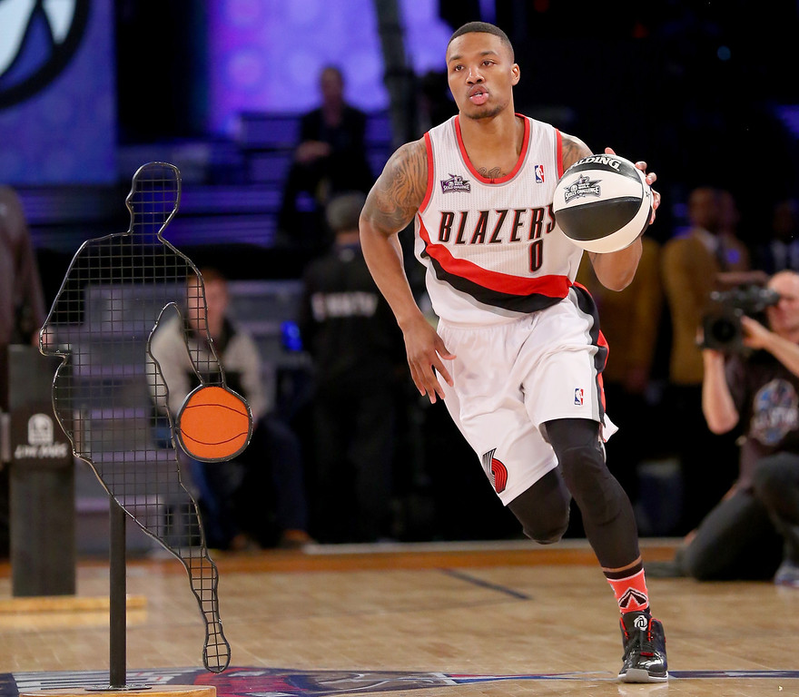 . NEW ORLEANS, LA - FEBRUARY 15:  Western Conference All-Star Damian Lillard #0 of the Portland Trail Blazers competes in the Taco Bell Skills Challenge 2014 as part of the 2014 NBA All-Star Weekend at the Smoothie King Center on February 15, 2014 in New Orleans, Louisiana. (Photo by Ronald Martinez/Getty Images)