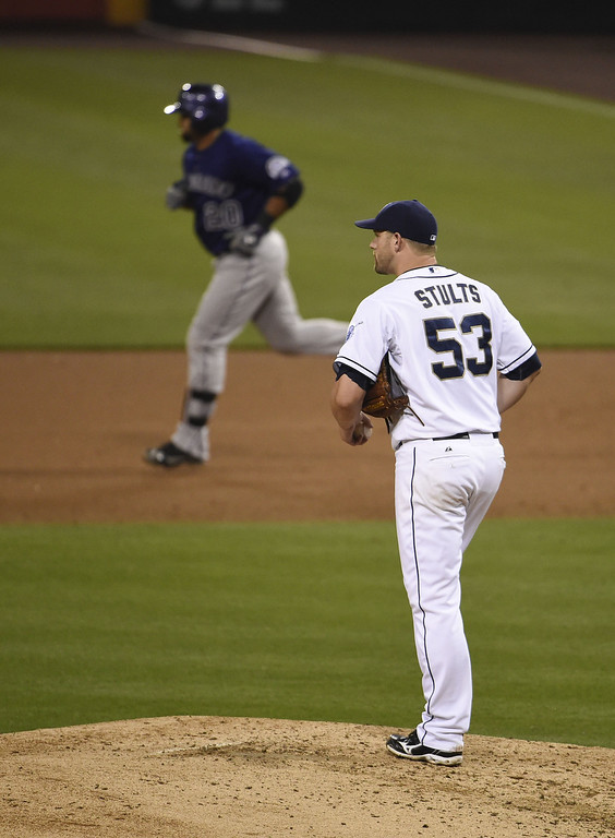 . Eric Stults #53 of the San Diego Padres stands on the mound as Wilin Rosario #20 of the Colorado Rockies rounds the bases after hitting a two-run home run during the fifth inning of a  baseball game at Petco Park April 14, 2014 in San Diego, California.  (Photo by Denis Poroy/Getty Images)