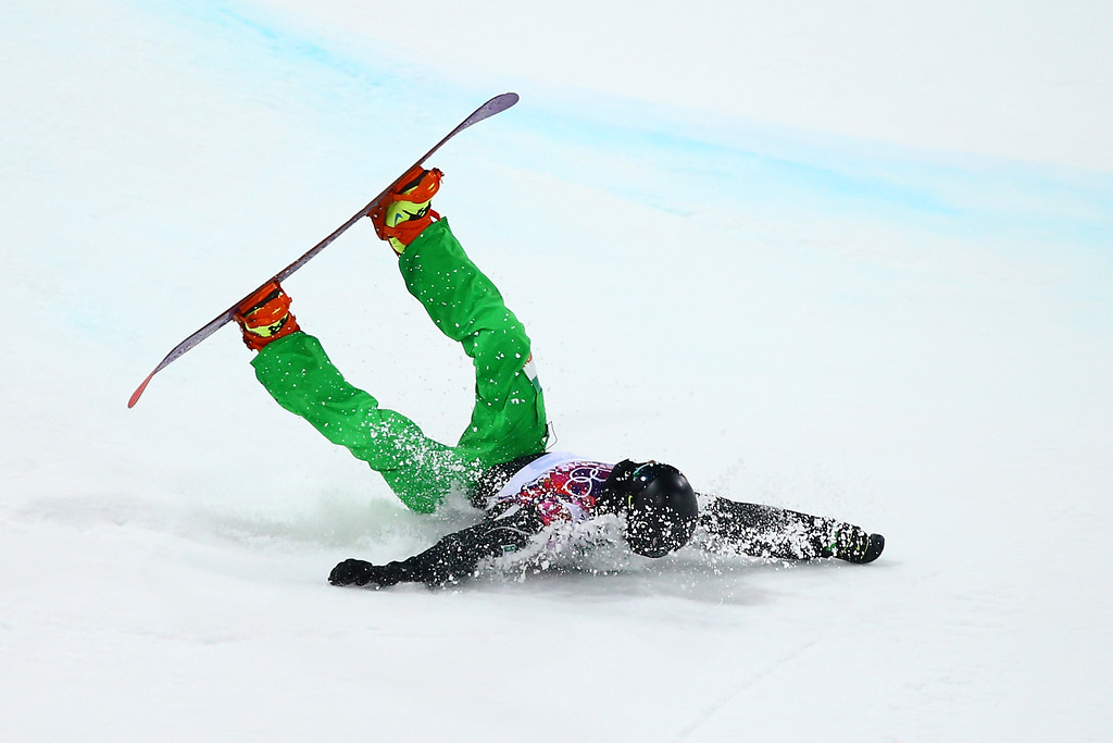 . Seamus O\'Connor of Ireland crashes out in his Snowboard Men\'s Halfpipe Semifinal on day four of the Sochi 2014 Winter Olympics at Rosa Khutor Extreme Park on February 11, 2014 in Sochi, Russia.  (Photo by Al Bello/Getty Images)