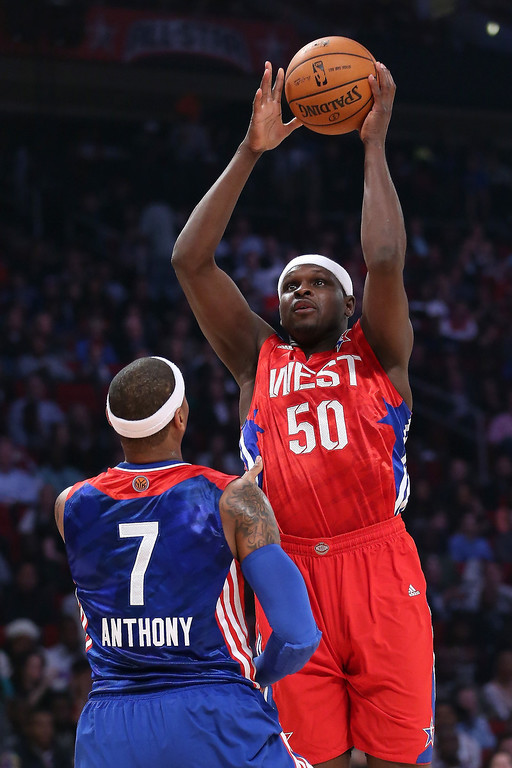 . HOUSTON, TX - FEBRUARY 17:  Zach Randolph #50 of the Memphis Grizzlies and the Western Conference shoots over Carmelo Anthony #7 of the New York Knicks and the Eastern Conference in the first half during the 2013 NBA All-Star game at the Toyota Center on February 17, 2013 in Houston, Texas.    (Photo by Ronald Martinez/Getty Images)
