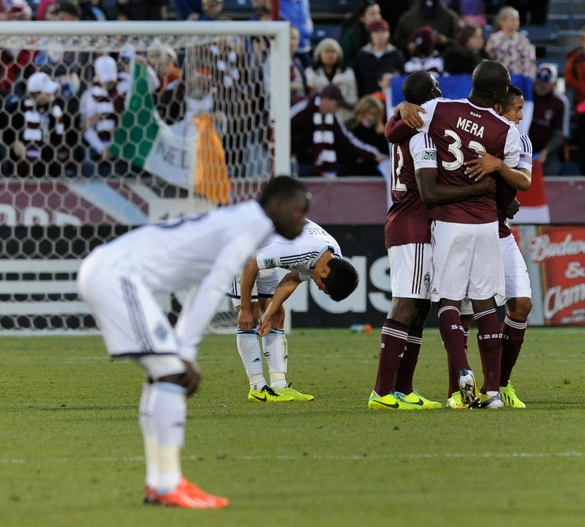 . COMMERCE CITY, CO. - OCTOBER 19: With the Colorado victory Vancouver was mathematically eliminated from advancing to the playoffs. The Colorado Rapids defeated the Vancouver Whitecaps 3-2 at Dick\'s Sporting Goods Park Saturday, October 19, 2013. Photo By Karl Gehring/The Denver Post