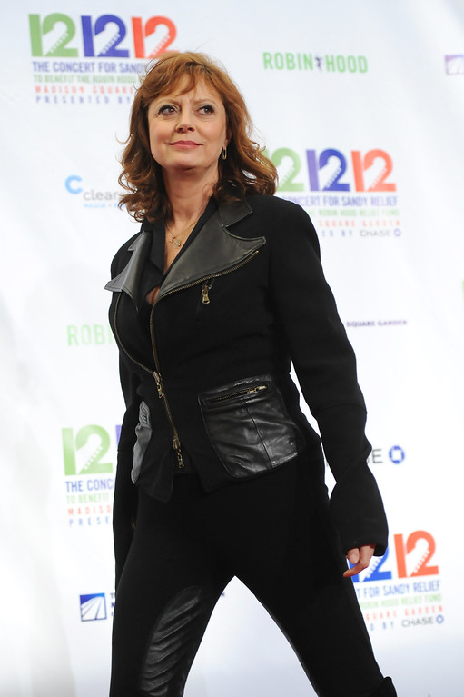 """. Actress Susan Sarandon appears backstage at \""""12-12-12\"""" The Concert for Sandy Relief, on Wednesday, Dec. 12, 2012 in New York. (Photo by Evan Agostini/Invision/AP Images)"""