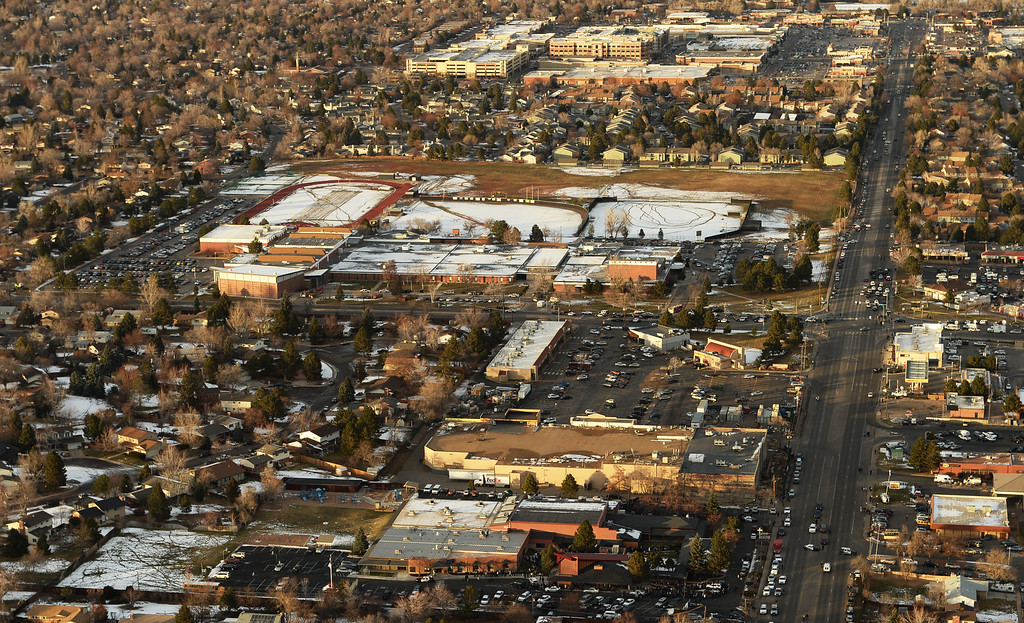 . LITTLETON, CO. DECEMBER 13: Aerial view of Arapahoe High School in Centennial, Colorado,  December 13, 2013.(Photo by Hyoung Chang/The Denver Post)