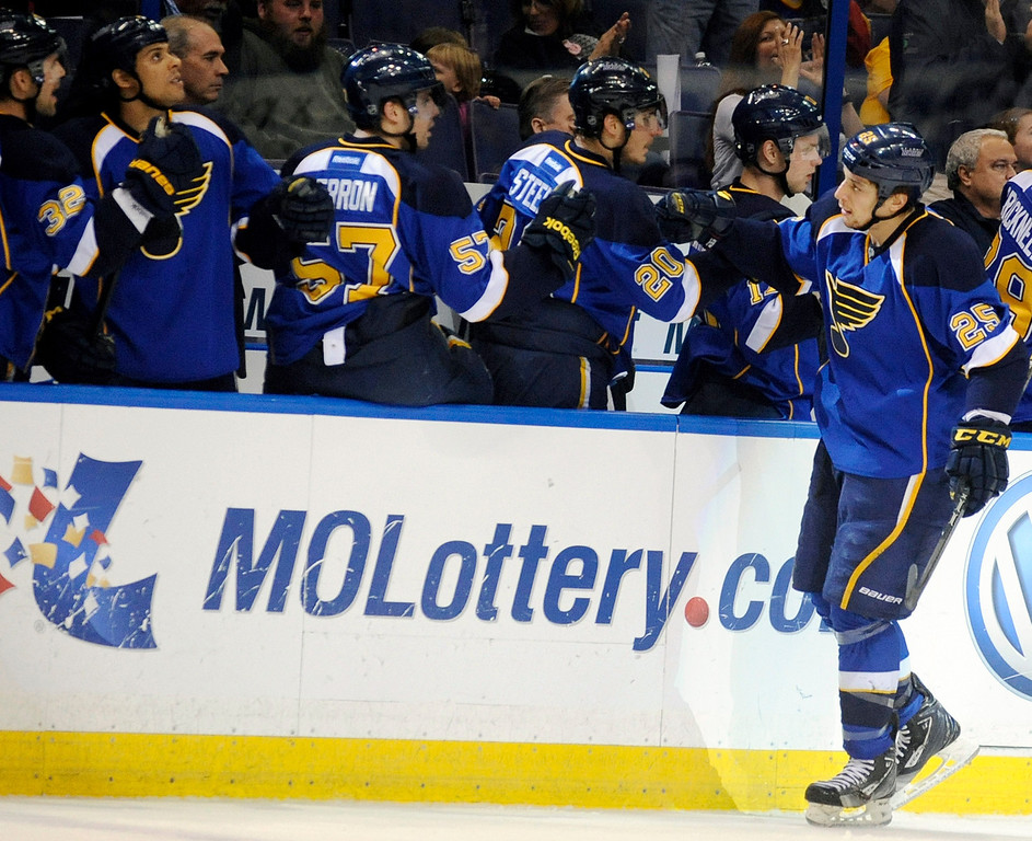 . St. Louis Blues\' Chris Stewart (25) is congratulated by the Blues\' bench after his goal against the Colorado Avalanche in the first period of an NHL hockey game Tuesday, April 23, 2013, in St. Louis. (AP Photo/Bill Boyce)