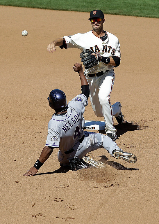 . San Francisco Giants second baseman Marco Scutaro (19) throws to first base after forcing out Colorado Rockies\' Chris Nelson (4) on a double play ball hit into by Jonathan Herrera during the seventh inning of a baseball game in San Francisco, Wednesday, April 10, 2013. (AP Photo/Jeff Chiu)