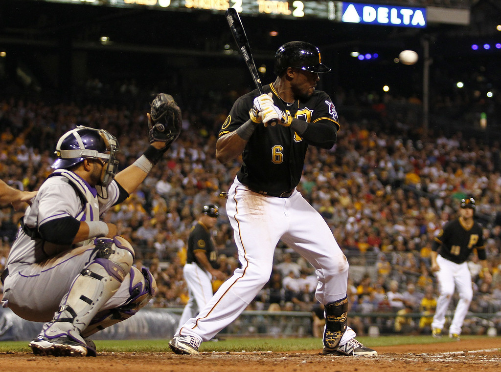 . PITTSBURGH, PA - JULY 18: Starling Marte #6 of the Pittsburgh Pirates is hit in the head by a pitch in the seventh inning against the Colorado Rockies during the game at PNC Park July 18, 2014 in Pittsburgh, Pennsylvania. (Photo by Justin K. Aller/Getty Images)